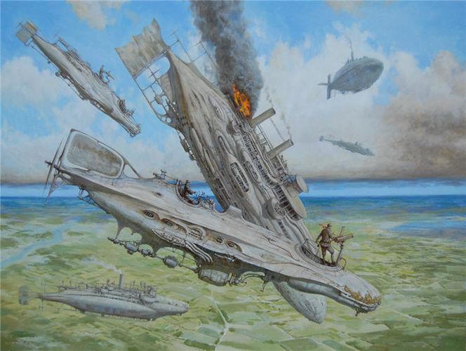 Luftschiffe, Landschaft, Luftschiff, Dampf, Steampubk, Malerei
