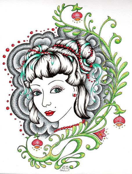Tattoo, Kopf, Portrait, Frau, Illustrationen,