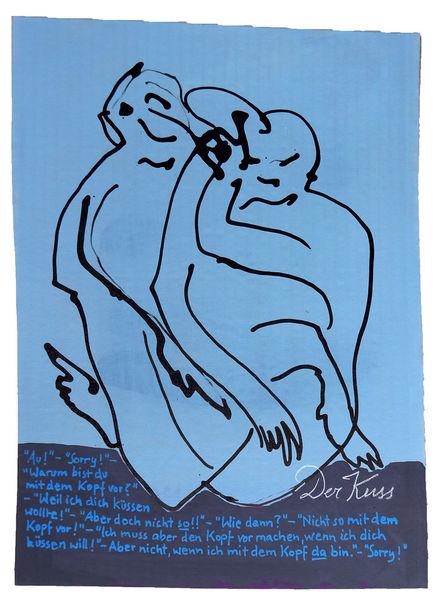 Kuss, Zärtlichkeit, Beule, Zeichnungen, Annäherung
