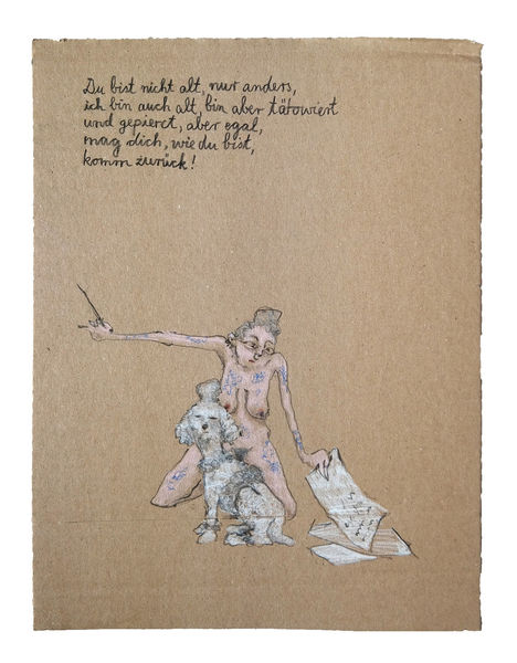 Pudel, Brief, Frau, Zeichnungen, Warten