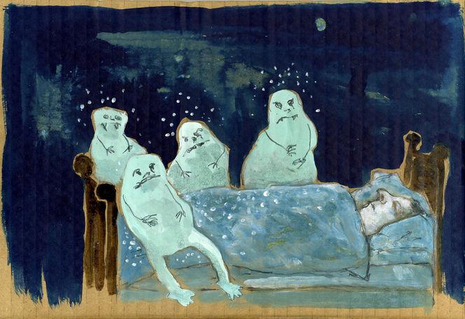 Albtraum, Bett, Schlaf, Blau, Malerei