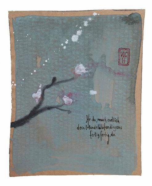 Haiku, Chinesisch, Mandelblüte, Zeichnungen