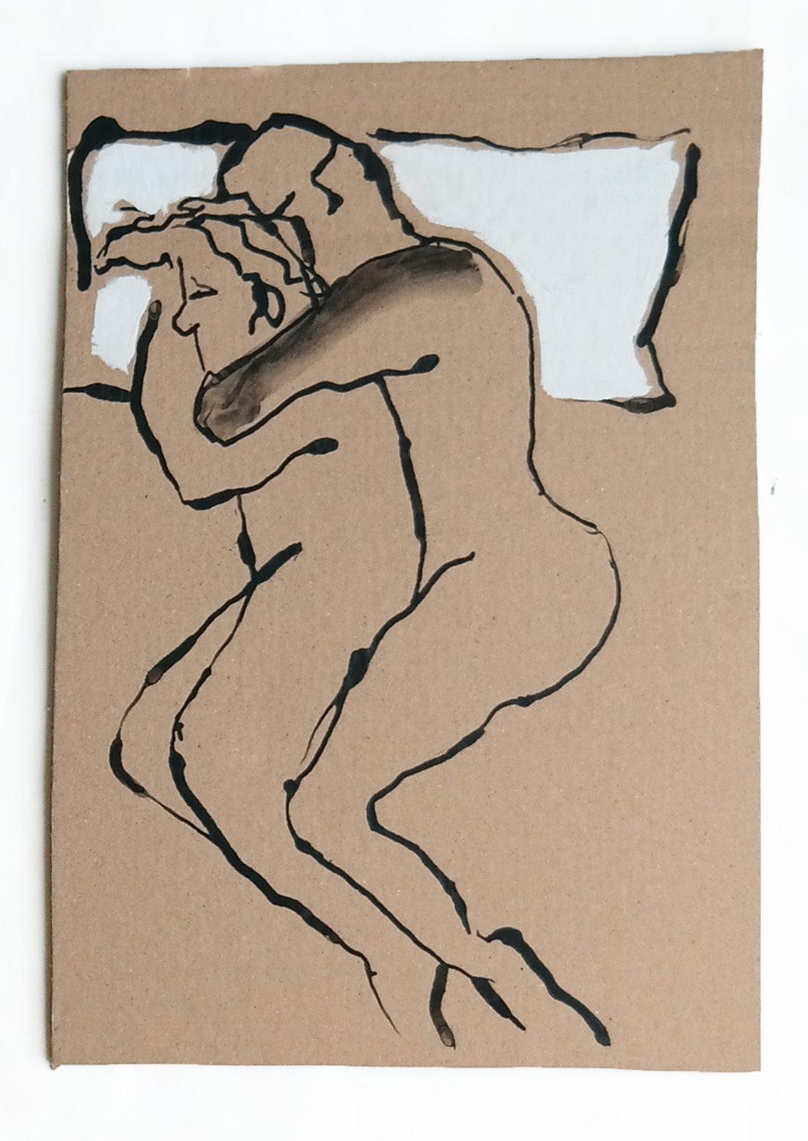 Schlaf Mann Stellung Frau Bett Von Victor Koch Bei Kunstnet