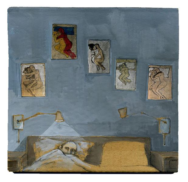 Schlafzimmer, Mann, Löffelchen, Bett, Stellung, Zeichnungen