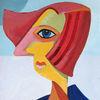Frau, Picasso, Gurke, Malerei