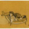 Frau, Hund, Liegen, Zeichnungen