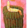 Mädchen, Sessel, Sitzen, Zeichnungen