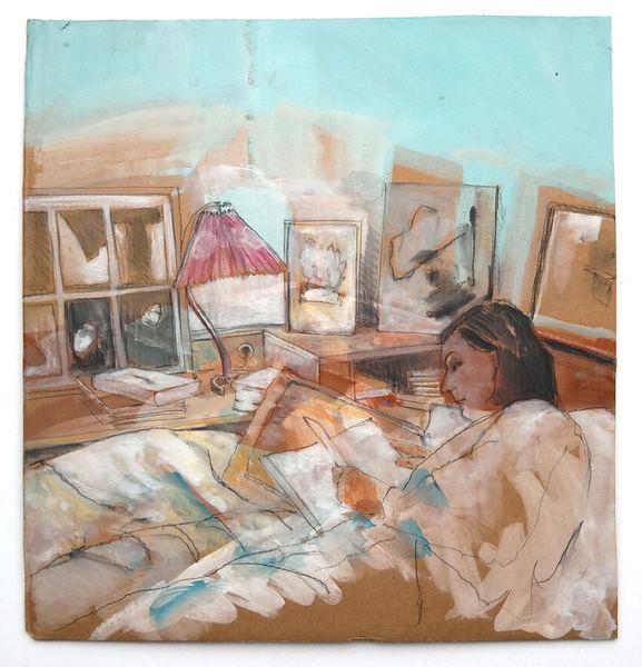 Entspannung, Schlafzimmer, Malerei, Rückzug,