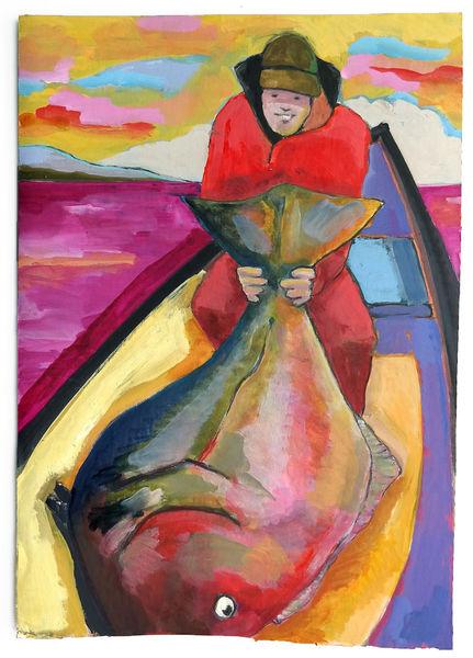 Fisch, Fang, Boot, Malerei