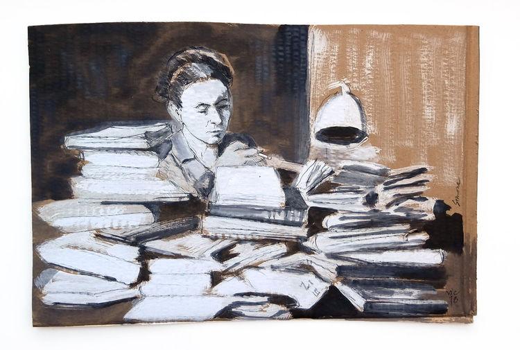 Buch, Schreibtisch, Literatur, Malerei
