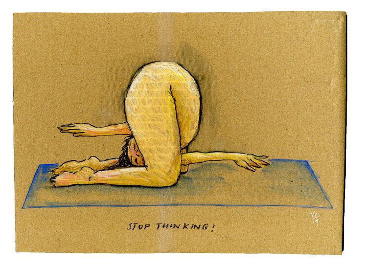 Yoga, Denken, Zeichnungen, Stop,