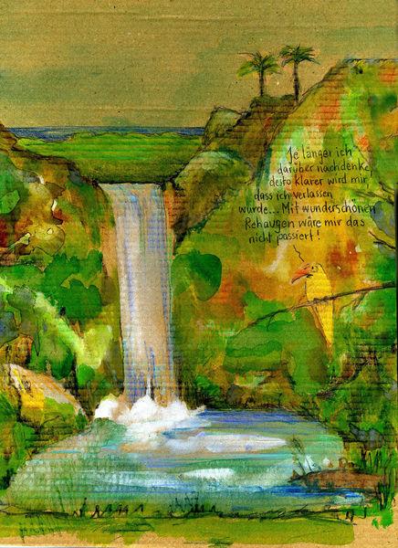 Insel, Wasserfall, Vogel, Zeichnungen, Verlassen