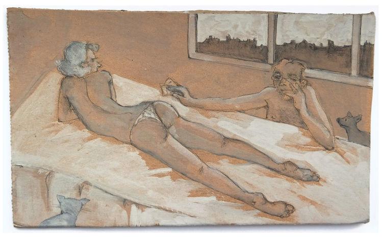 Fenster, Bett, Frau, Mann, Zeichnungen