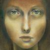 Mädchen, Gesicht, Augen, Malerei