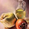 Kaki, Olivenöl, Quitten, Malerei