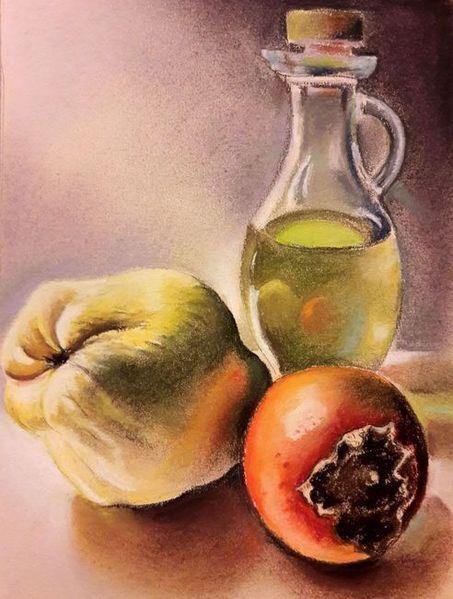 Kaki, Olivenöl, Quitten, Malerei, Stillleben