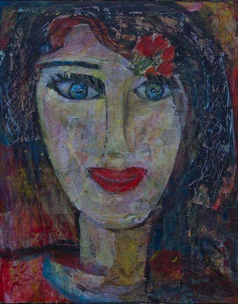 Mittelgroß, Blaue augen, Rote lippen, Kopf, Schwarze haare, Malerei