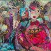 - pink,rot,Hüte,Landschaft,Tiere,zwei,Frauen
