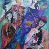 140 x 100, Violett, Braun, Figur