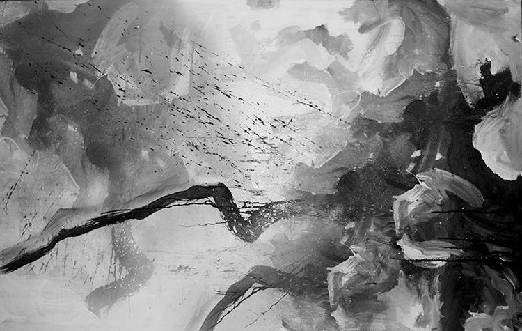 Gestisch, Hell, Acrylmalerei, Abstrakt, Gesundheit, Schwarzweiß