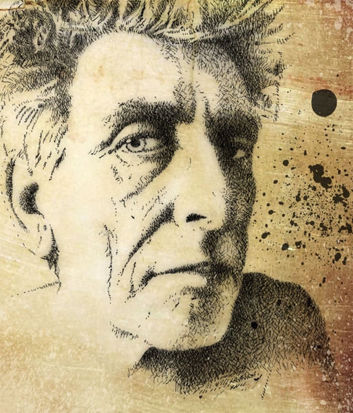 Federzeichnung, Frühstück, Portrait, Selbstportrait, Zeichnungen