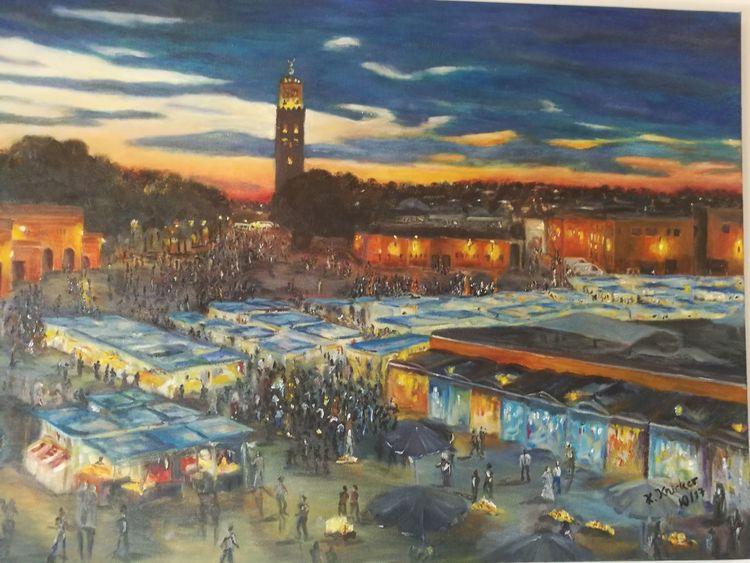 Marrakesch, Marktplatz, Sonnenuntergang, Malerei, Marokko, Treiben