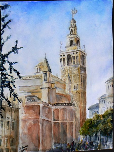 Giralda, Aquarellmalerei, Stadtansicht, Aquarell, Blick,