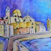 Aquarellmalerei, Cadiz, Cathedrale, Abstrakt
