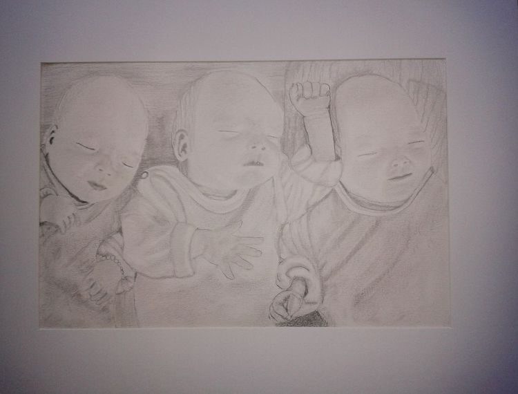 Kind, Glück, Menschen, Baby, Zeichnung, Drilling