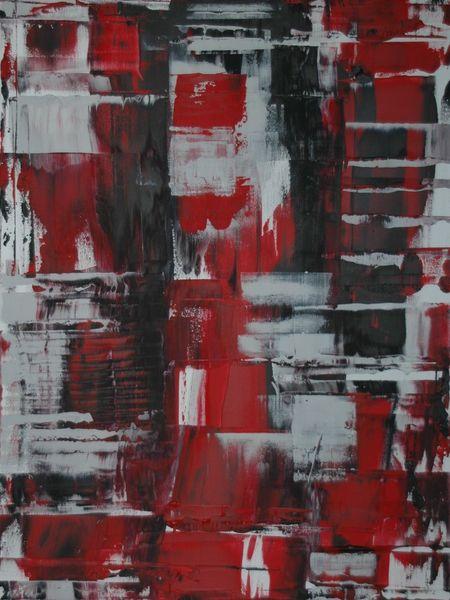 Abstrakt, Modern, Acrylmalerei, Rot schwarz, Weiß, Strukturr