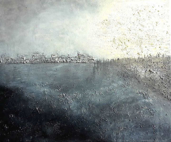 Skyline, Silber, Weiß, Marmormehl, Landschaft, Grafik