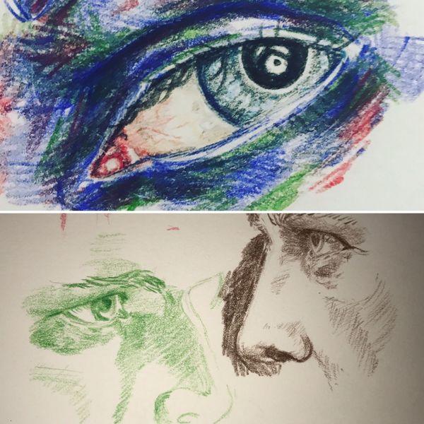 Mann, Buntstiftzeichnung, Zeichnung, Rot schwarz, Augen, Studie