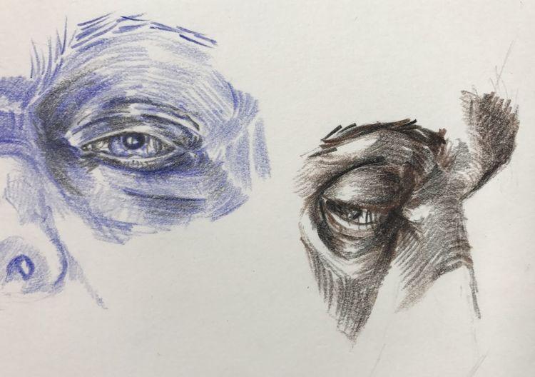 Buntstiftzeichnung, Mann, Monochrom, Studie, Gesicht, Augen