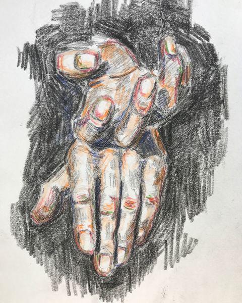 Zeichnung, Hände, Mann, Rot schwarz, Studie, Grün