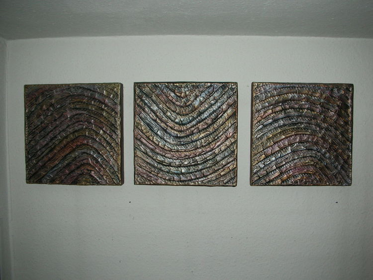Triptychon, Holzbildträger, Kn17, Mischtechnik, Welle