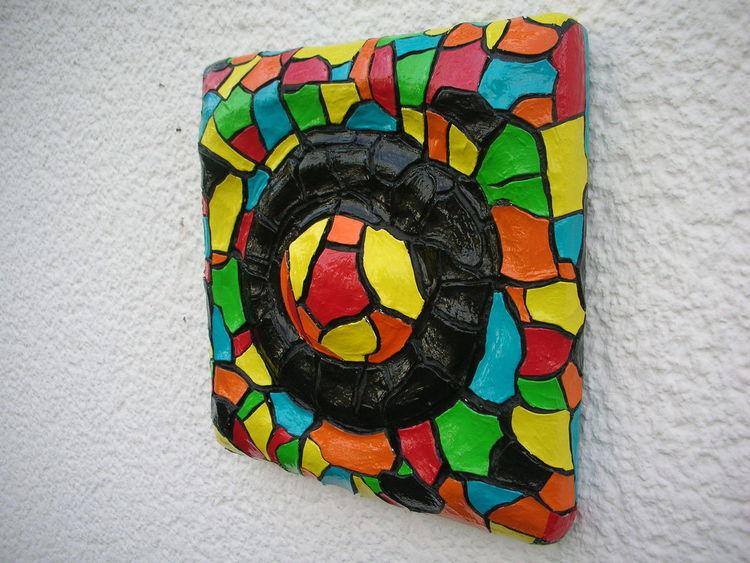 Rot, Gelb, Folie, Türkis, Holzbildträger, Kunsthandwerk