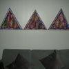 Holzbildträer, Dreiecke, Mischtechnik, Triptychon