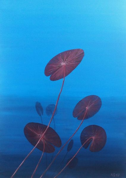 Unterwasser, See, Seerosen, Malerei