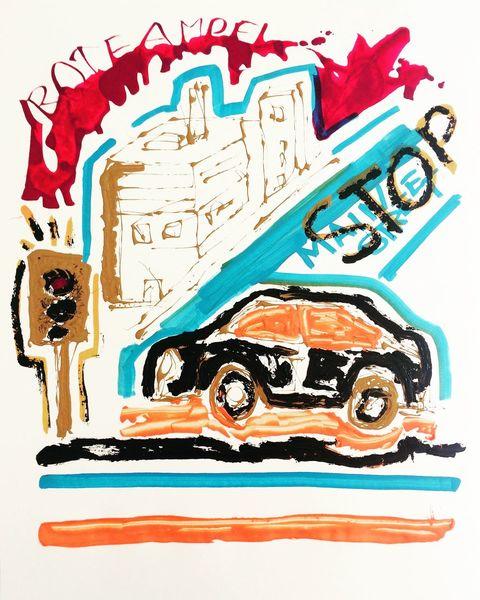 Stau, Auto, Stadt, Malerei, Ampel