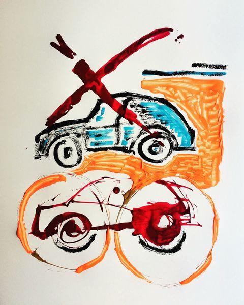 Stau, Auto, Stadt, Malerei