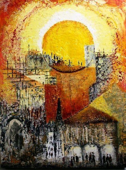 Gelb, Mystik, Rot, Spachtel, Collage, Acrylmalerei