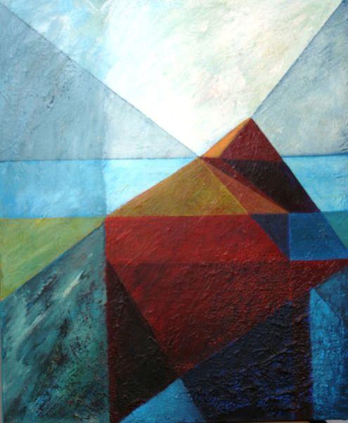 Rot, Lasurtechnik, Acrylmalerei, Blau, Farben, Technik