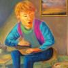 Portrait, Acrylmalerei, Blau, Mischtechnik