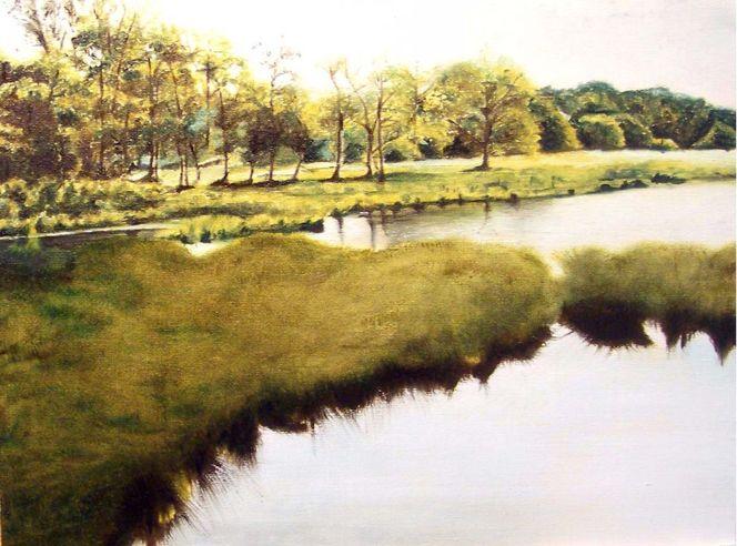 Ufer, Mühle, Wasser, Baum, Licht, Spiegelung