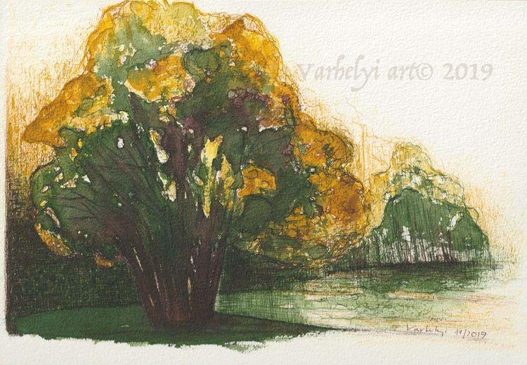 Studie, Landschaft, Tuschmalerei, Grün, Baum, Naturstudie