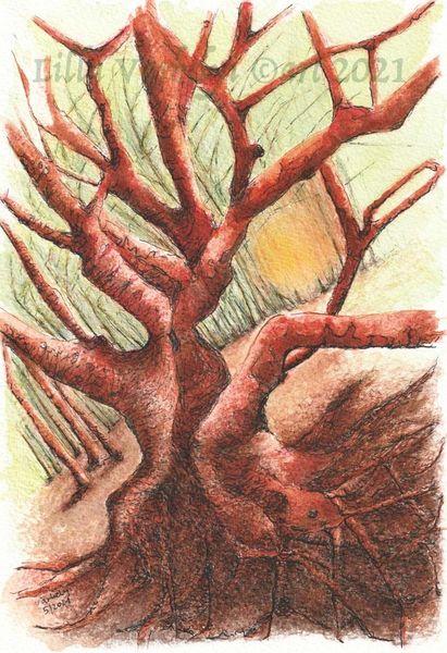 Braun, Baum, Natur, Fantasie, Studie, Tuschmalerei