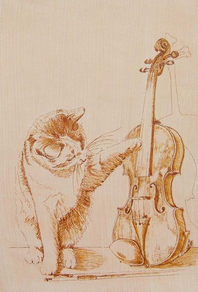 Katze, Musik, Zupfgeigenkatze, Verspielen, Instrument, Tusche