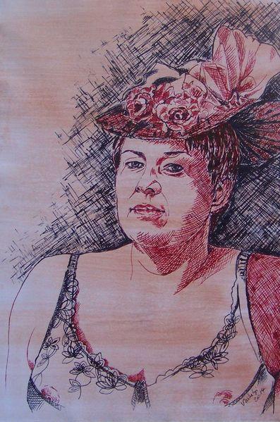 Hut, Jugendstil, Portrait, Federzeichnung, Blumen, Frau
