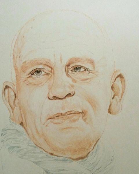 Johnmalkovich, Figurativ, Portrait, Schauspieler, Gesicht, Tuschezeichnung