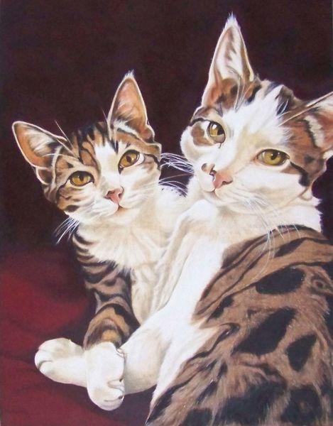 Harzölmalerei, Liebe, Fell, Tiere, Gemütlichkeit, Katzenportrait